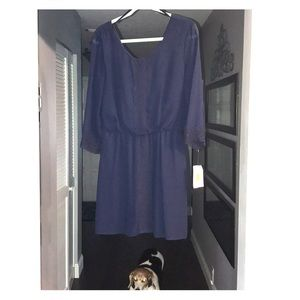 New- Jodi Kristopher navy lace dress sz L